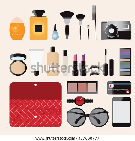 Makeup cosmetics bag with accessories, Personal Belongings, perfume, camera, sunglasses, credit card,sunblock cream, Eyelashes, eyeshadow, lipstick, brushes, smartphone and watch, vector illustration. - stock vector