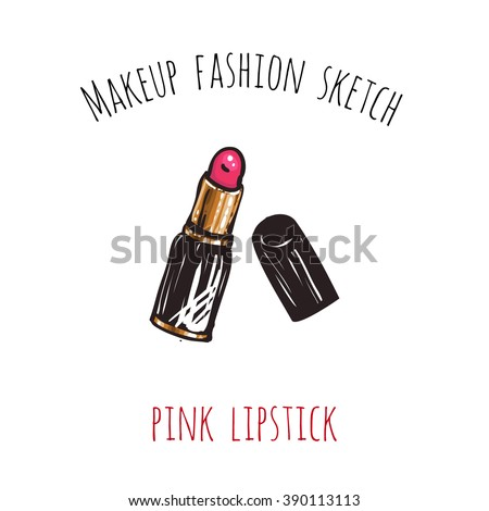 Makeup fashion sketch: pink lipstick. Glossy and shine glamour fashion sketch in vogue style. Isolated fashion art element with two inscription around. Simple greeting card or flyer. - stock vector