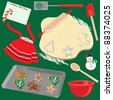 Making and baking Christmas Cookies Clip art elements and icons - stock vector