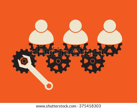 making group working together, by turning gear