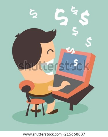 Making money from online activity. Flat vector illustration - stock vector