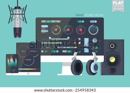 Making music illustration workspace, workplace concept in flat design. User interface. Web banner and promotional materials. Music, sound production, technology icons. - stock vector