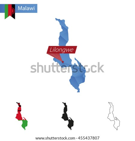 Malawi blue Low Poly map with capital Lilongwe, versions with flag, black and outline. Vector Illustration. - stock vector