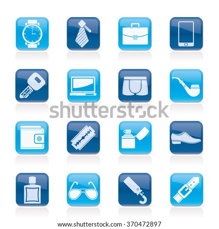 Male accessories and clothes icons- vector icon set - stock vector