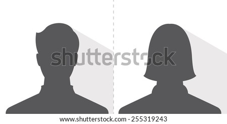 male and female avatar profile picture, silhouette light shadow - stock vector