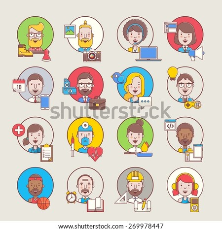 Male and female avatars with devices and tools - stock vector