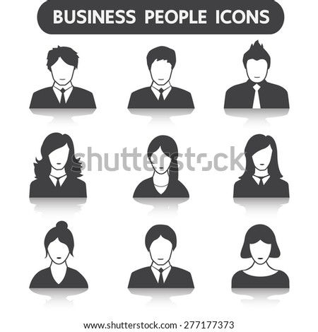 Male and female business people icon set - stock vector