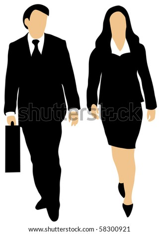 Male and female business people on white background walking forward, the man holding a briefcase. - stock vector