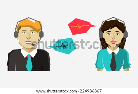 Male and female call center avatar icons with speech bubbles. - stock vector