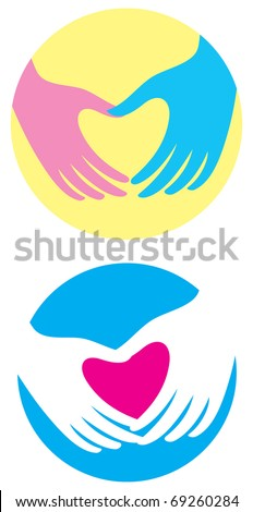 Male and female hands have created a heart shape. Symbol. - stock vector