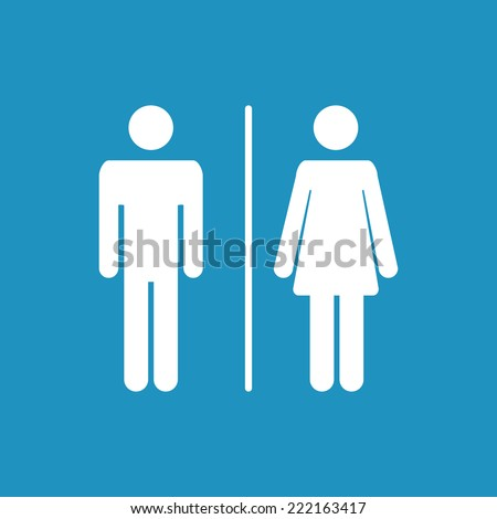 Male and female  icon on  blue  denoting toilet and restroom facilities for both men and women  - stock vector