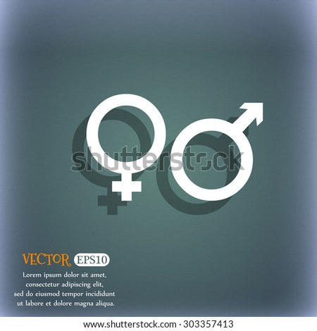 male and female icon symbol on the blue-green abstract background with shadow and space for your text. Vector illustration - stock vector