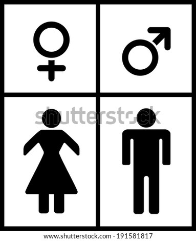 Male and Female illustration on white background - stock vector