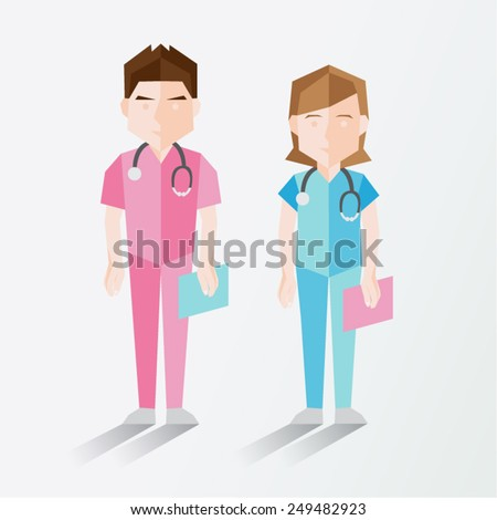 Male and Female Nurse Vector Illustration - stock vector