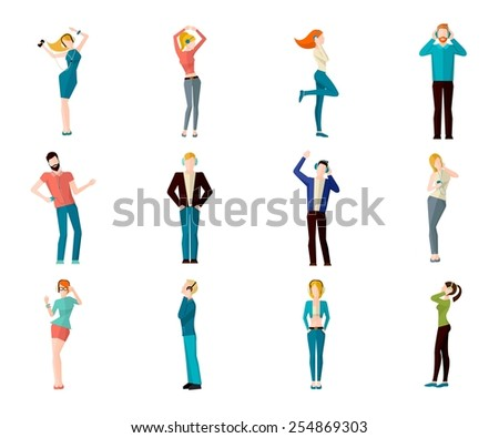 Male and female people listening to the music and dancing avatar icons set isolated vector illustration - stock vector