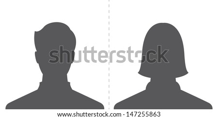 male and female profile picture, silhouette profile avatar - stock vector