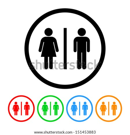 Male and Female Restroom Symbol Icon - stock vector