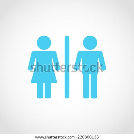 Male and Female Restroom Symbol Icon Isolated on White Background - stock vector