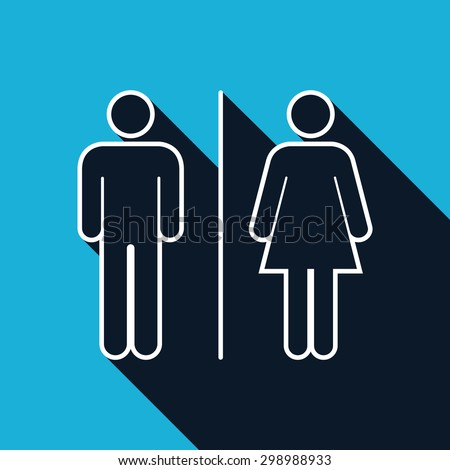 Male and female restroom symbol icon - Vector - stock vector