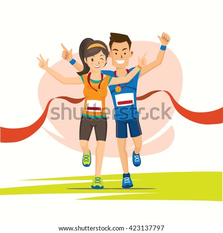 male and female runner cross the finish line with medal cartoon - stock vector