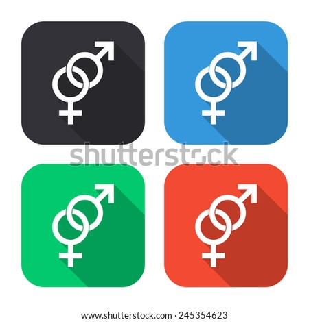 male and female sex icon - colored illustration (gray, blue, green, red) with long shadow - stock vector