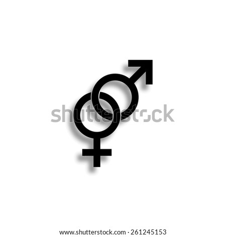 male and female sex symbol vector icon with shadow - stock vector