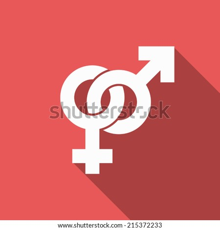 male and female sign icon with long shadow - stock vector