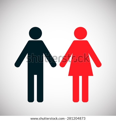 Male and Female Symbol Icon, black and red. Vector illustration  - stock vector