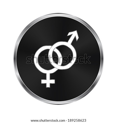 Male and female symbols - vector brushed metal button - stock vector