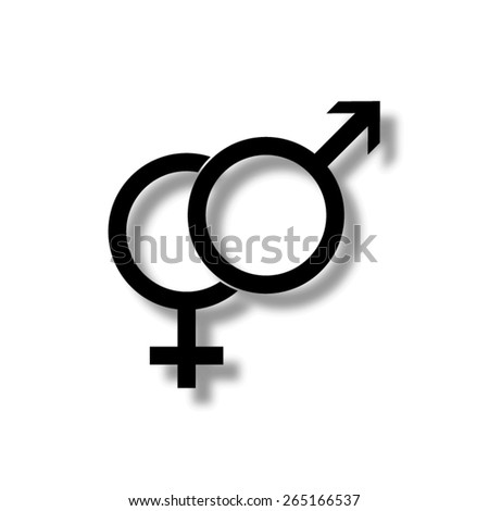 Male and female symbols  - vector icon with shadow - stock vector