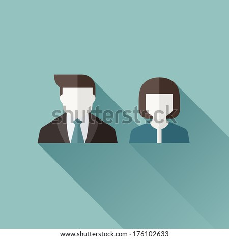 Male and female user icons. Flat vector design with long shadow - stock vector