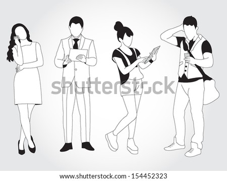 Male and female using smart phones and tablets illustration - stock vector