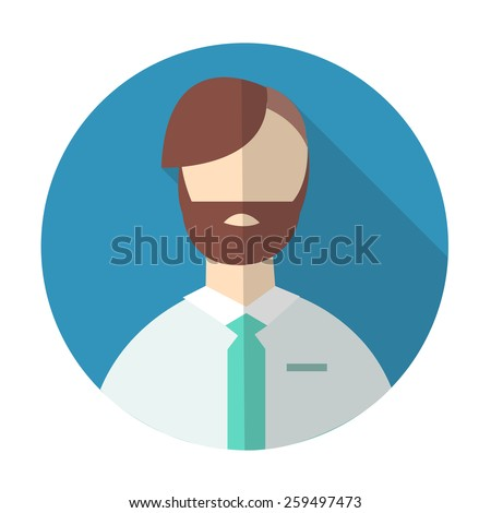 male avatar flat icon. businessman, worker or employee. vector illustration - stock vector