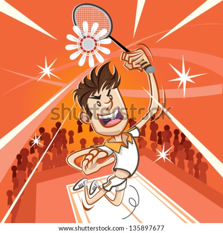 Male Badminton Player Performing A Vertical Jumping Smash - stock vector