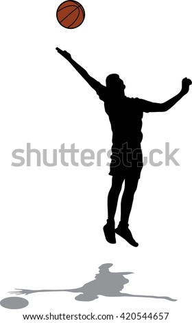 Male basketball player silhouette on a white background, jumping for shot, concept of hope - stock vector