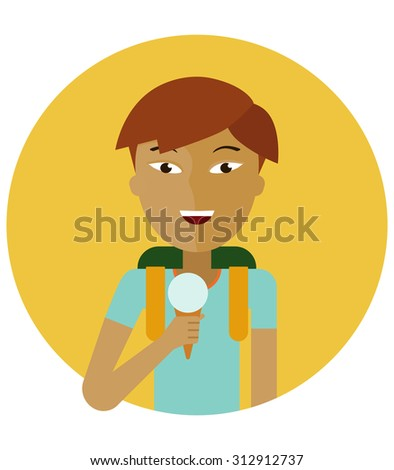 Male character, portrait of smiling Asian schoolboy holding ice cream - stock vector