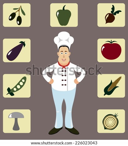 Male Chef Icons Set.  - stock vector