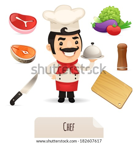Male Chef Icons Set. In the EPS file, each element is grouped separately. Isolated on white background. - stock vector