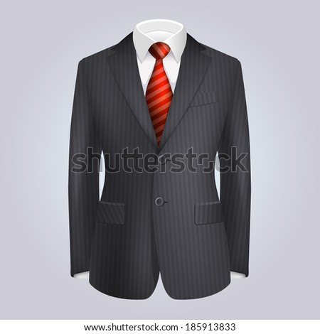 Male Clothing Dark Striped Suit with Red Tie. Vector - stock vector