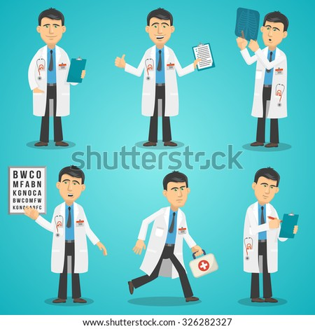 Male doctor character set with test results x-ray and first aid kit isolated vector illustration - stock vector