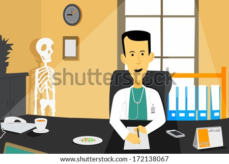 Male doctor sitting in front of desk at clinic hospital - stock vector
