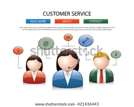 Male female call center avatar icons a faceless man and woman wearing headsets with colorful speech bubbles conceptual of client services communication - stock vector