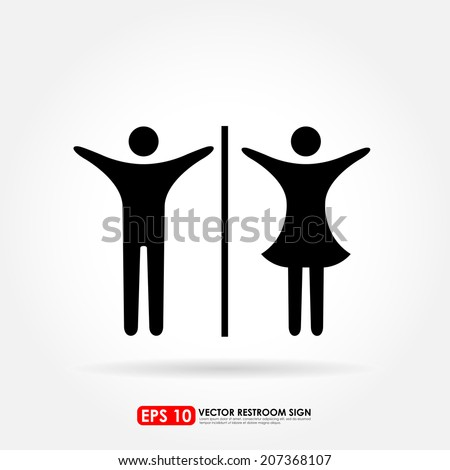 Male & female icons as toilet or restroom sign - young & teenager concept - stock vector