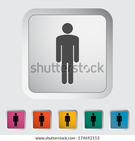 Male gender sign. Single flat icon on the button. Vector illustration. - stock vector