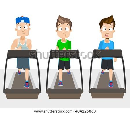 Male guys running on treadmill - stock vector