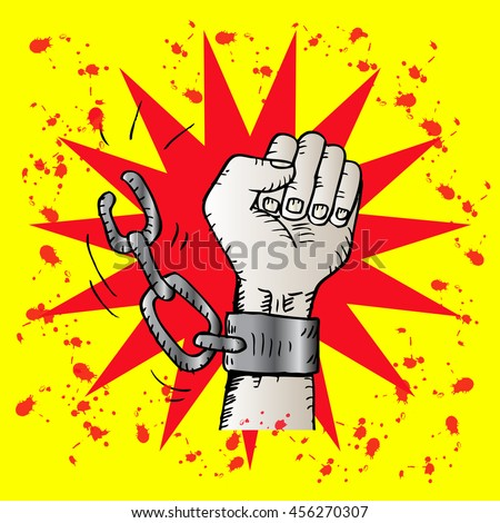 Male hand breaking steel handcuffs. Sketchy style. - stock vector