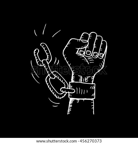 Male hand breaking steel handcuffs. Sketchy style  - stock vector