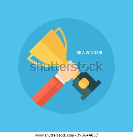 Male hand holding winner's cup. Winner trophy awards. Trophy cup flat icon. Winner cup vector illustration. - stock vector