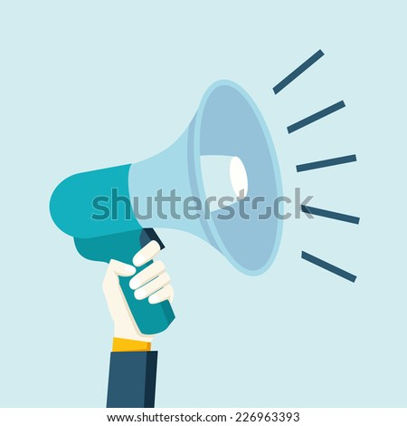 Male hand in suit holding megaphone flat cartoon vector illustration - stock vector