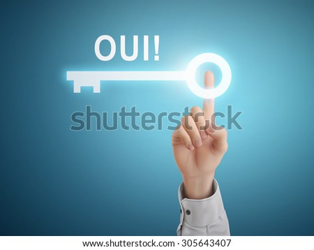 male hand pressing YES word in French over blue abstract background - stock vector
